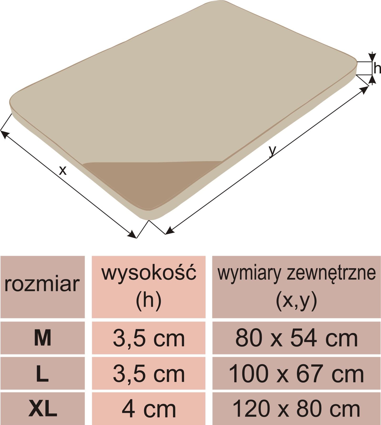 Materac Light - wymiry
